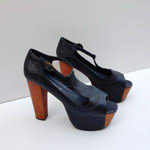 Jeffrey Campbell Foxy Wood T-Strap Platform Heels